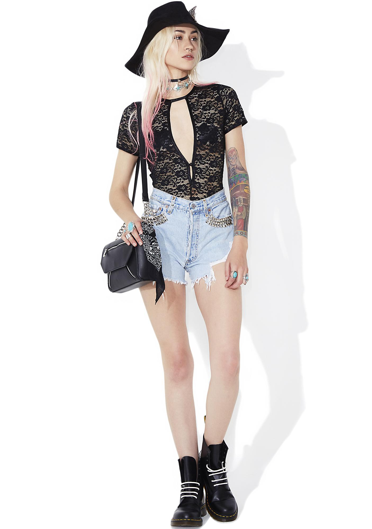 Night On The Sun Sheer Lace Bodysuit
