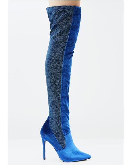 Azure Goddess Among Us Thigh-High Boots