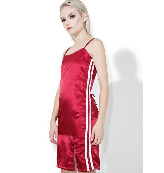 O Mighty Maroon Silk Kitten Dress