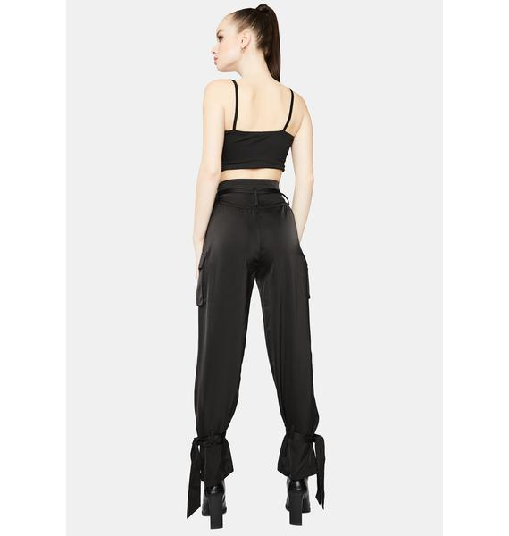 Hit My Line High Waisted Ankle Tie Cargo Pants