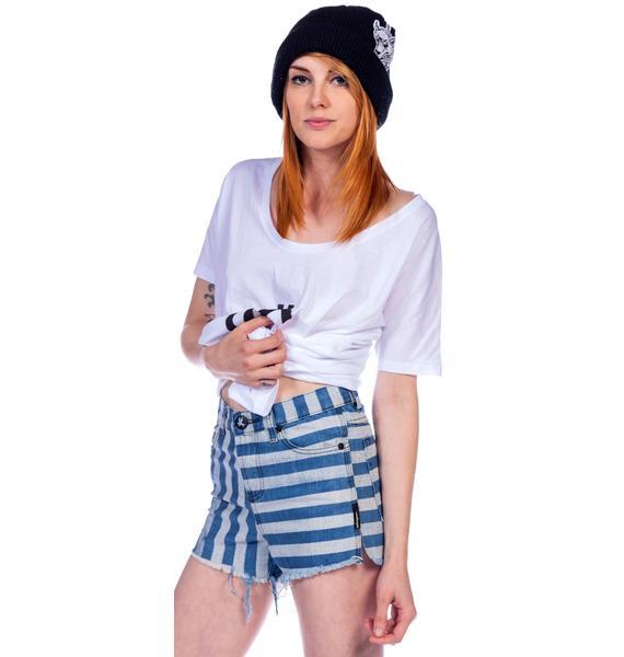 One Teaspoon Navy Stripe Romeos Shorts