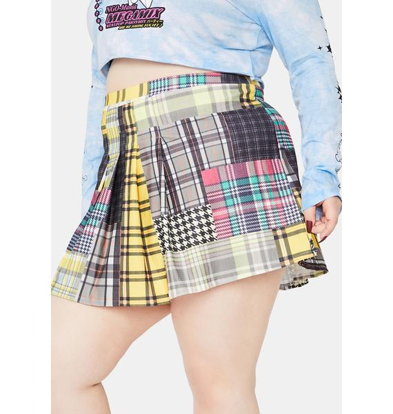 NEW GIRL ORDER Curve Pleated Check Mini Skirt