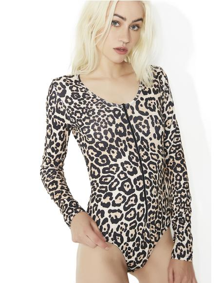 On Da Prowl Leopard Print Bodysuit