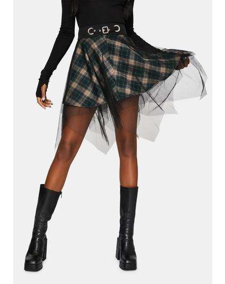 Plaid Mesh Skirt