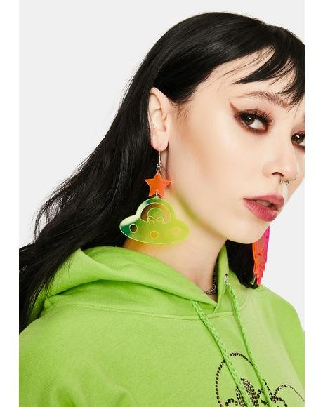 Fluorescent Green Spaceship Earrings
