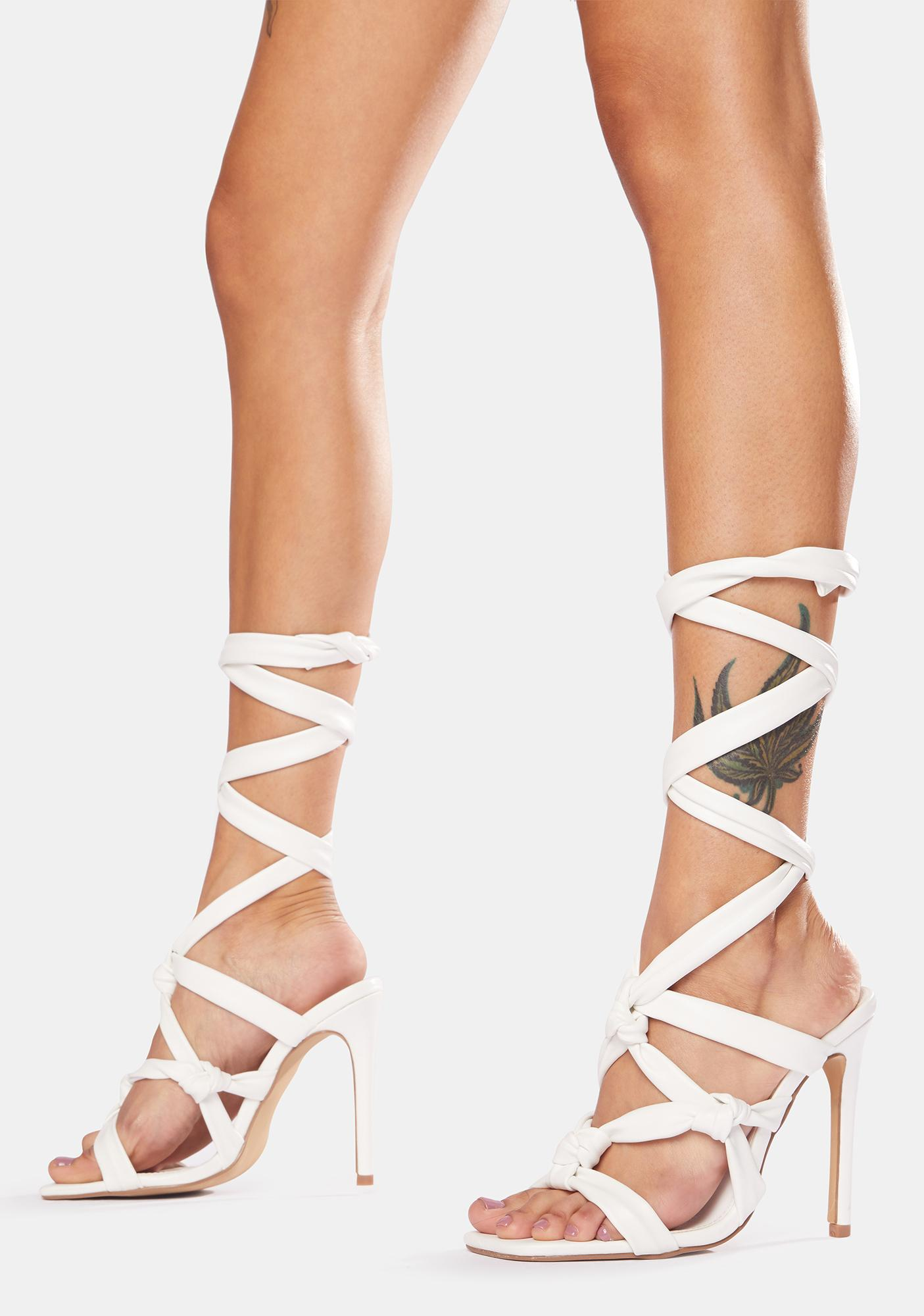 Public Desire Convo Knotted Lace Up Stiletto Heels