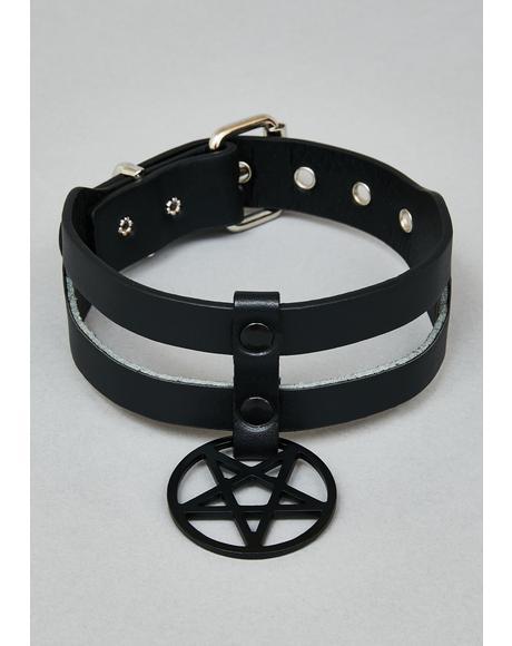 Black Pentagram Double Row Choker