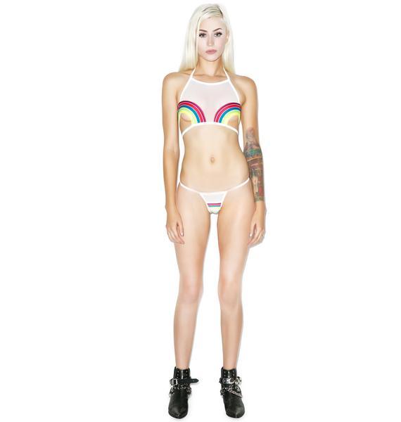Pacific & Driftwood Pot Of Gold Double Rainbows Bikini Top