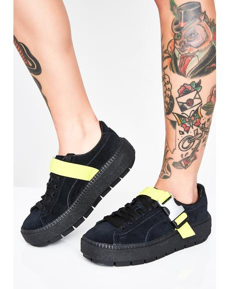 Platform Trace Buckle Sneakers
