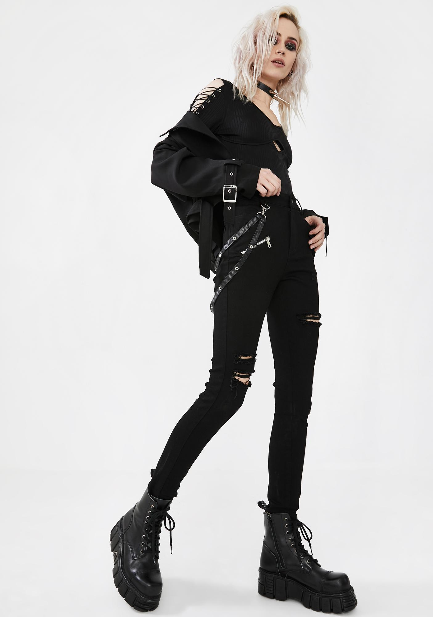 Punk Rave Suspender Strap Ripped Jeans