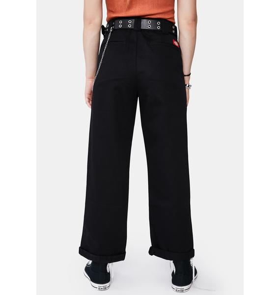 Dickies Girl Black Work Crop Roll Hem Belted Pants