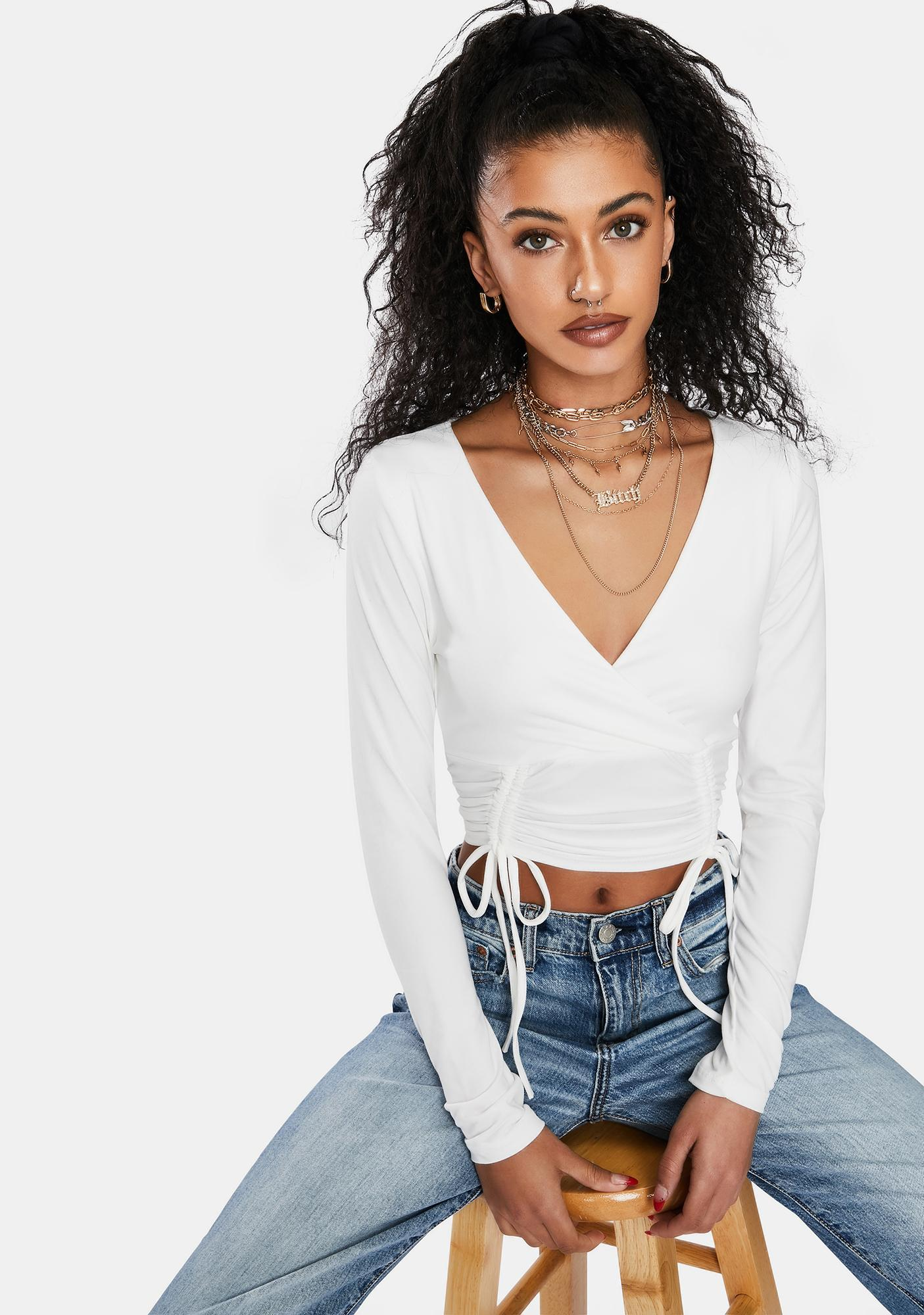 That's A Wrap Ruched Crop Top