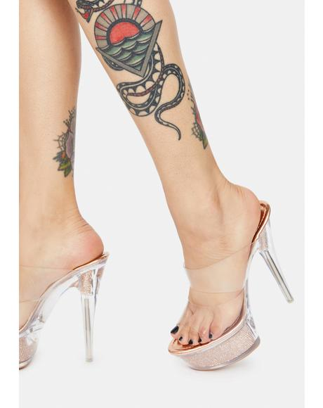 Rose Gold Dance Floor Fever Platform Heels