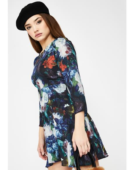 Floral Long Sleeve Babydoll Dress