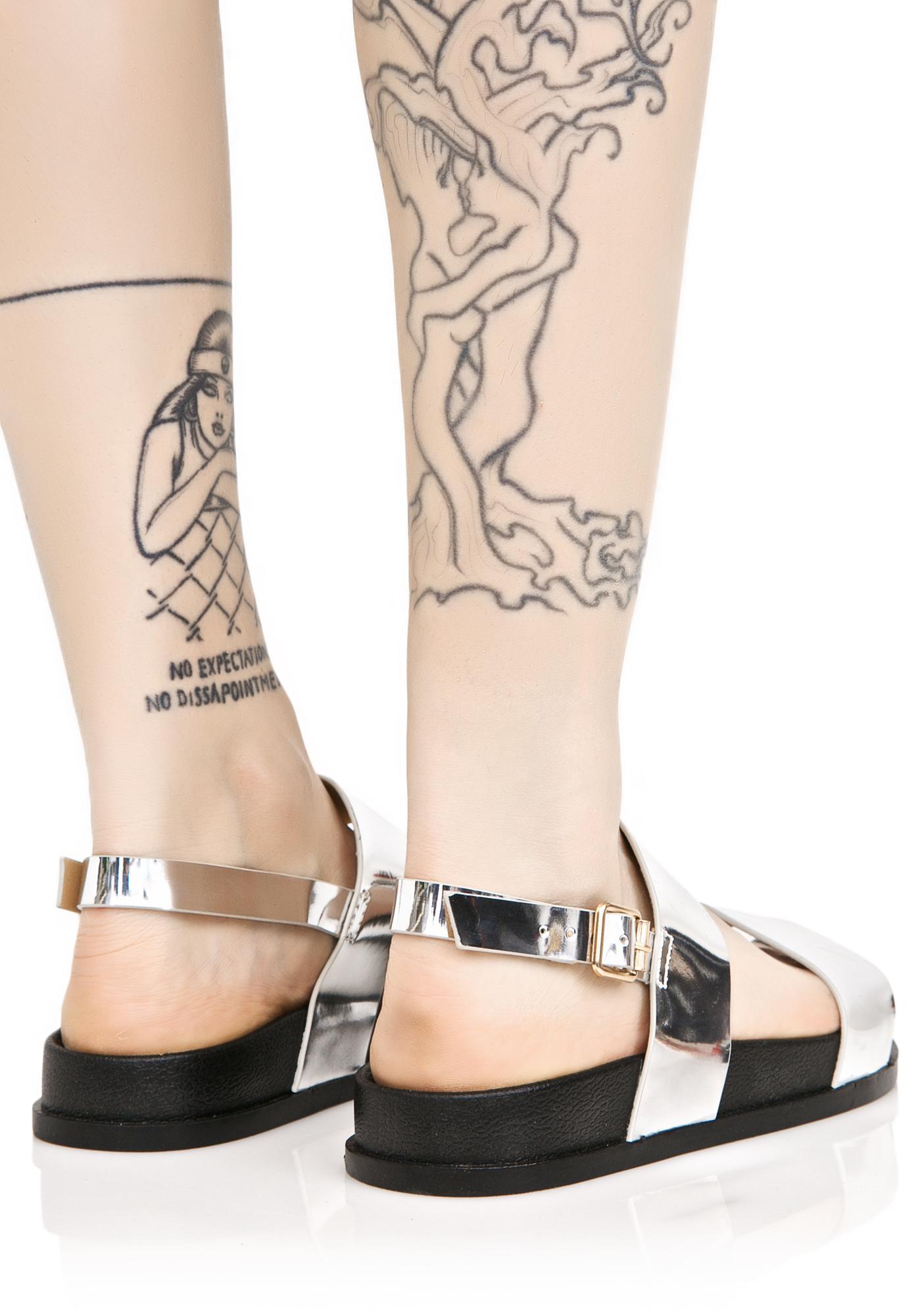 Silver Zanadu Metallic Sandals