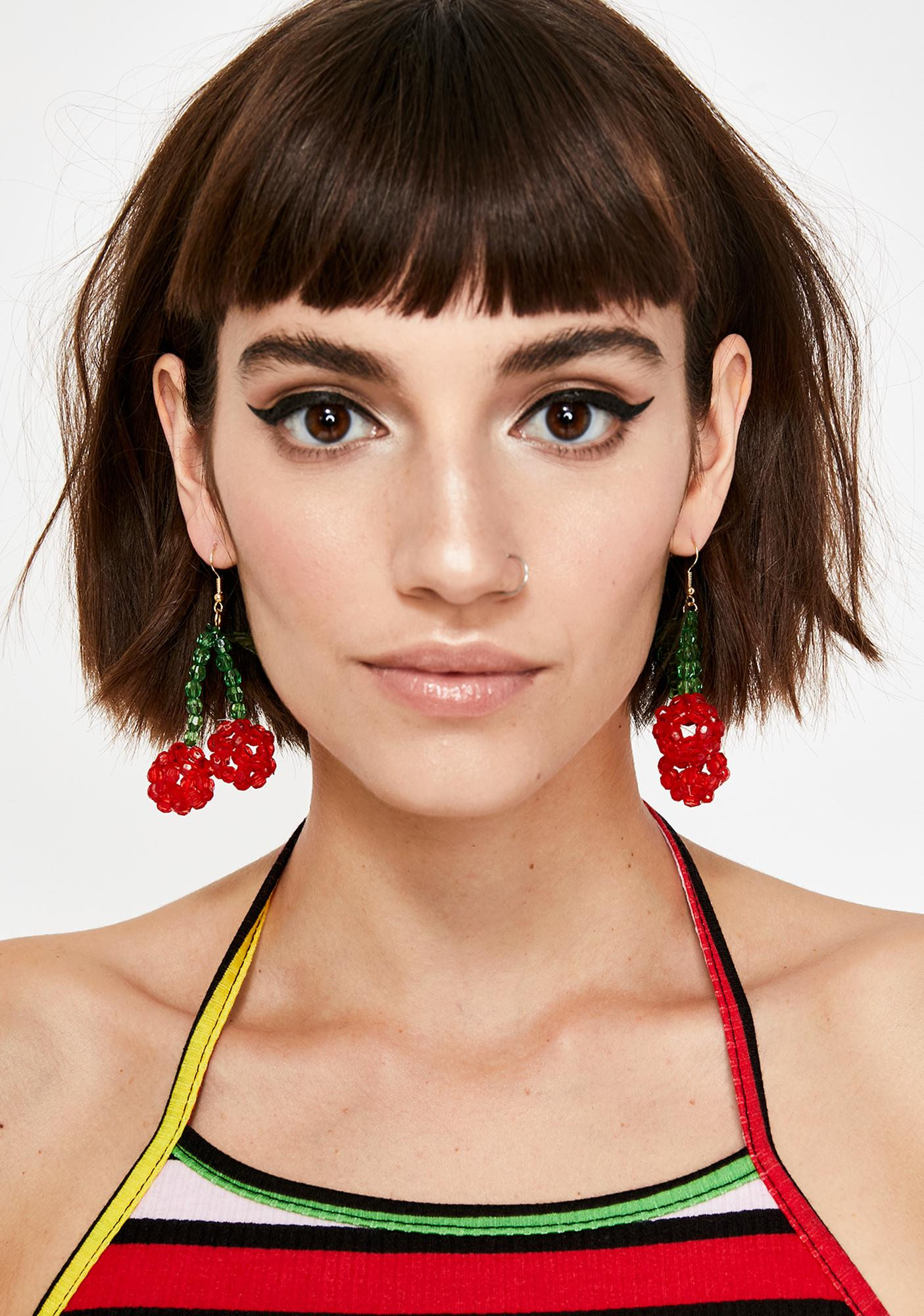 Sweet On U Cherry Earrings