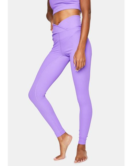 Lilac Veronica Ribbed Leggings