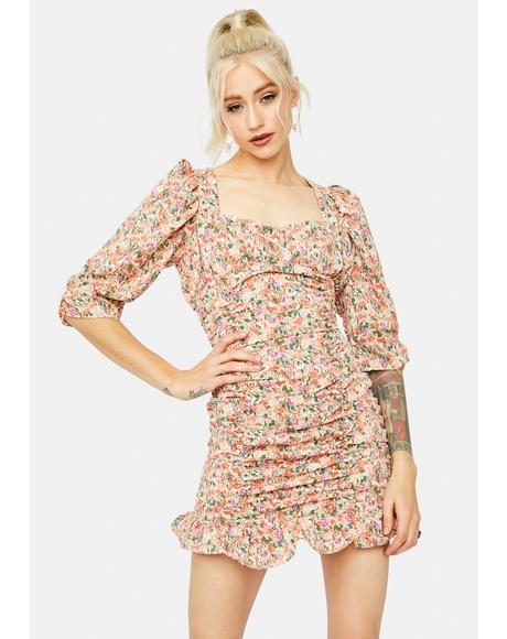 Write U A Love Song Puff Sleeve Floral Mini Dress