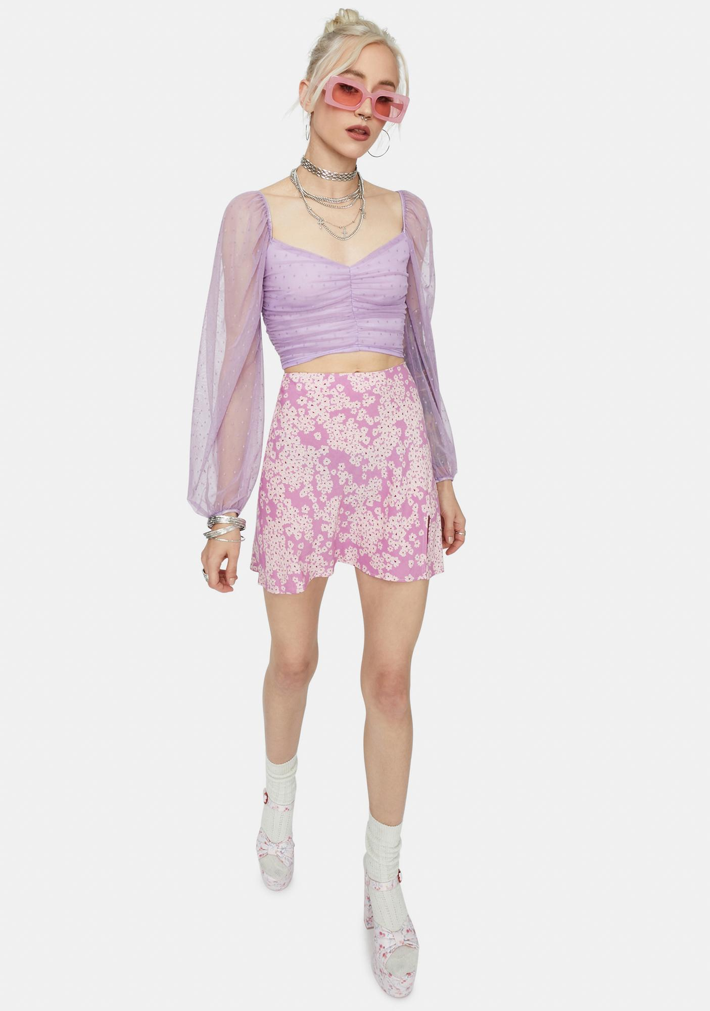 Lilac It's My Delight Ruched Crop Top