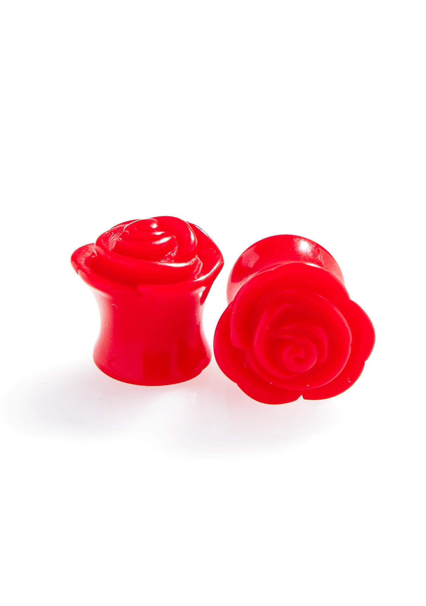 Red Rose Double Flare Plugs