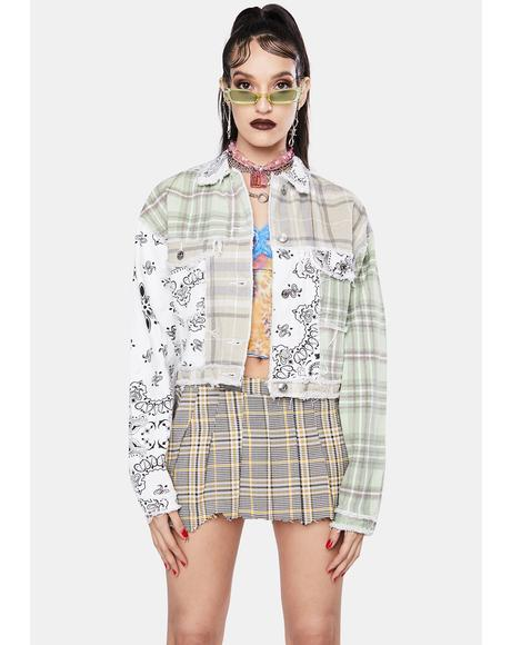Patchwork Bandana Cropped Denim Jacket