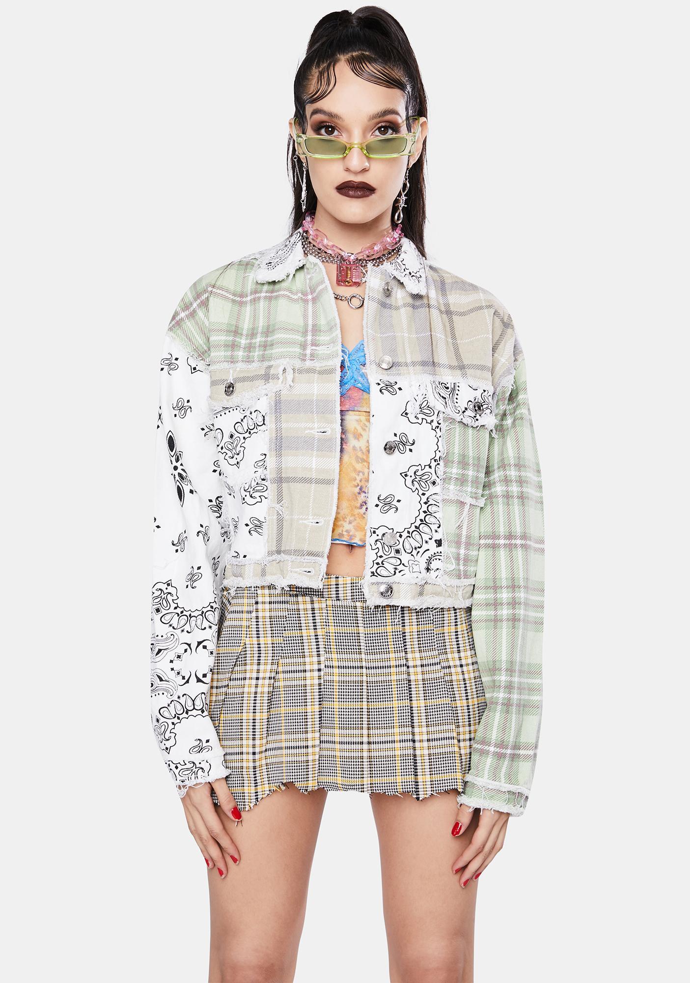 Jaded London Patchwork Bandana Cropped Denim Jacket