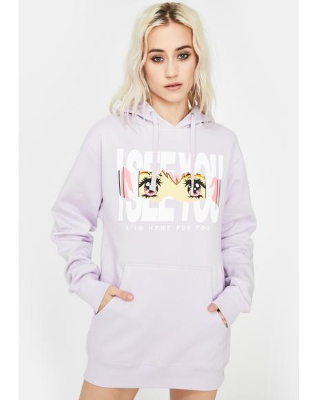 Lavender Here For You Graphic Hoodie