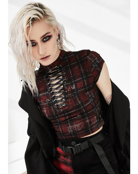 Plaid Lace Up Crop Top