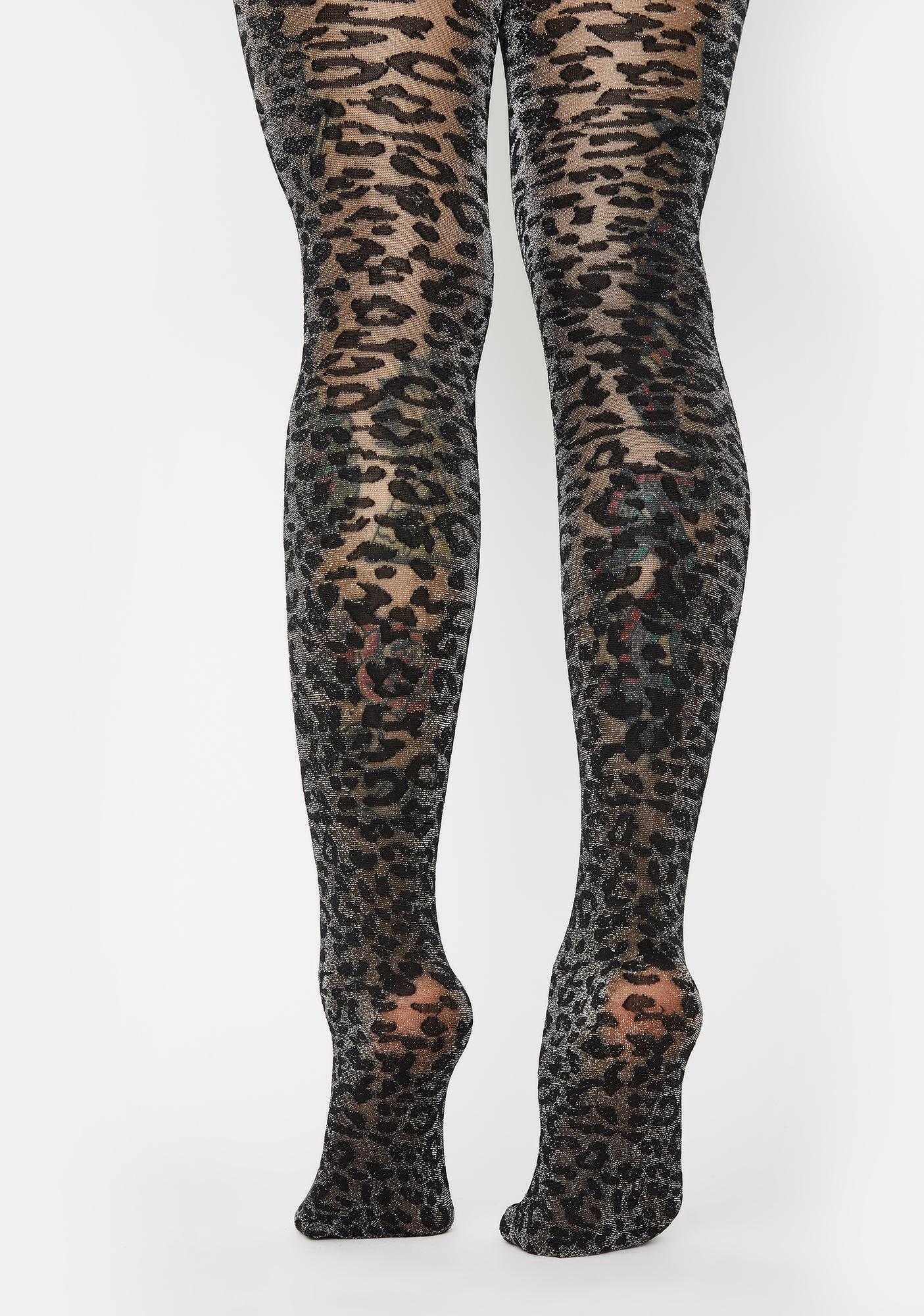 MeMoi Leopard Shimmer Sheer Tights