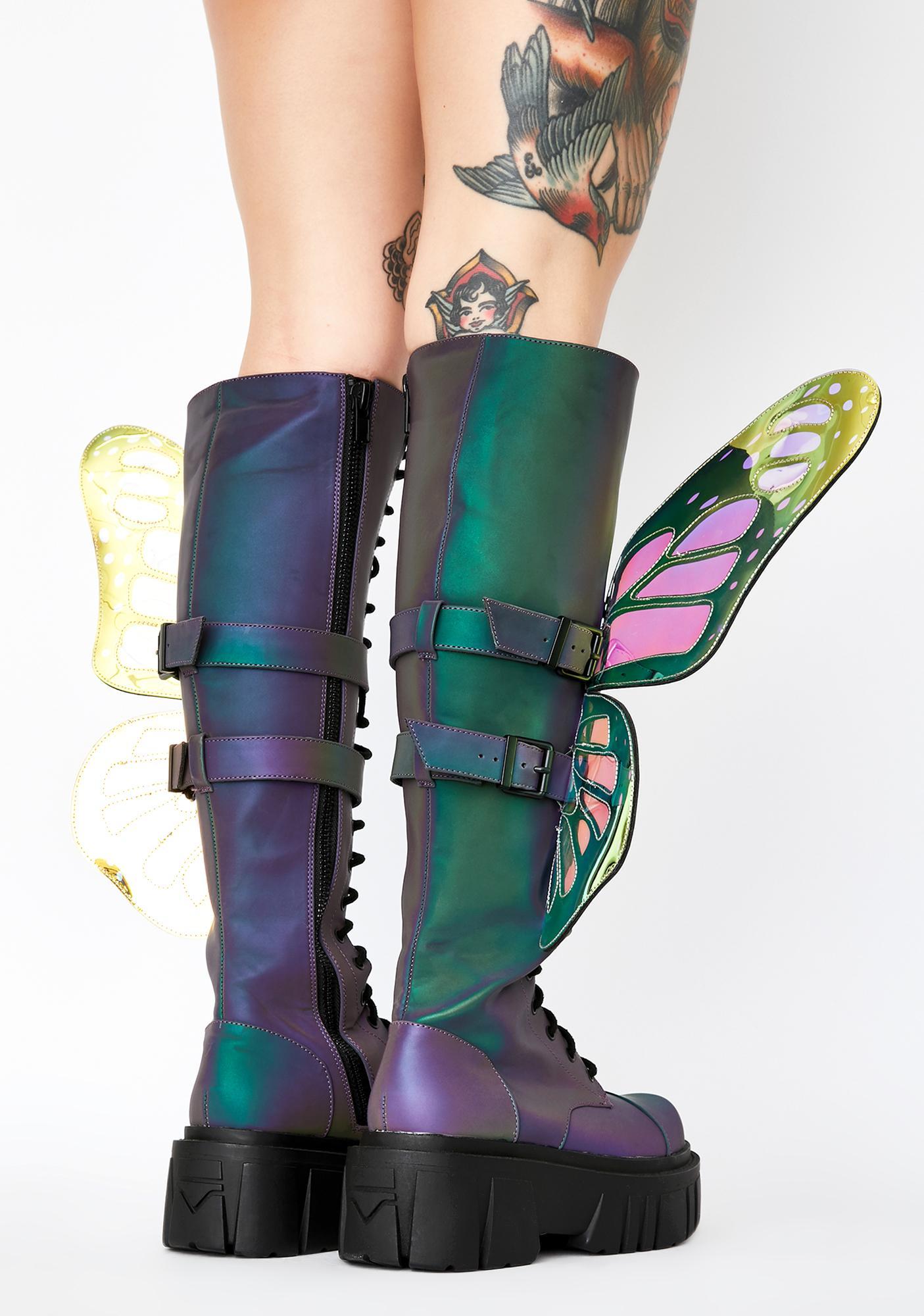 Club Exx Mystic Garden Reflective Butterfly Boots