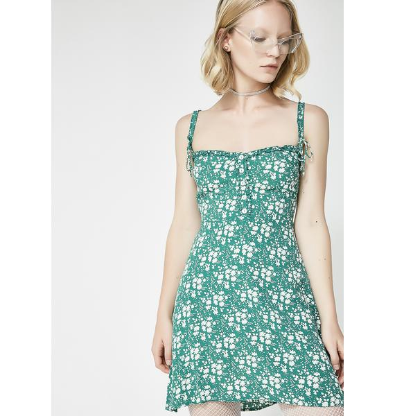 For Love & Lemons Emerald Zamira Button Front Tank Dress