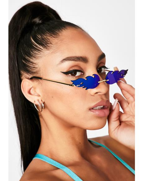 Cobalt Fire Tracks Reflective Sunglasses