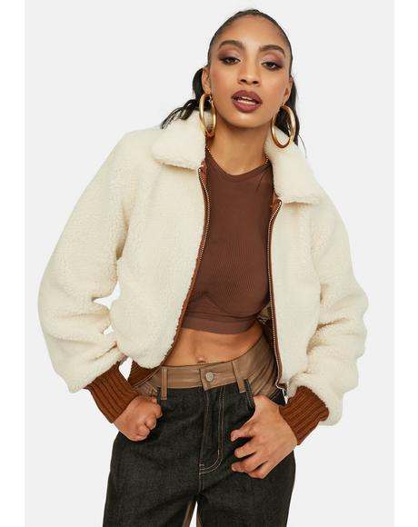 Couldn't Be Me Cropped Sherpa Jacket