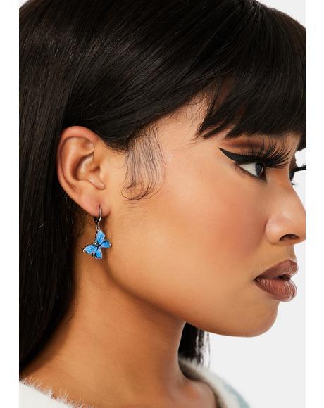 Aqua Sky High Butterfly Earrings