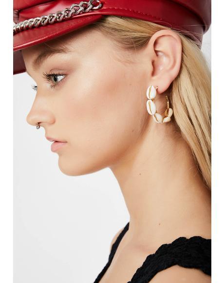 Shell Beach Hoop Earrings
