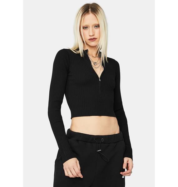 Noir Bomb Dot Com Zip Up Sweater