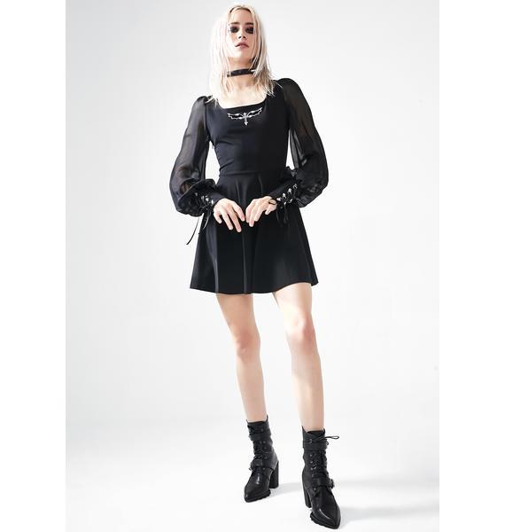 Punk Rave Tied Chiffon Sleeve Mini Dress
