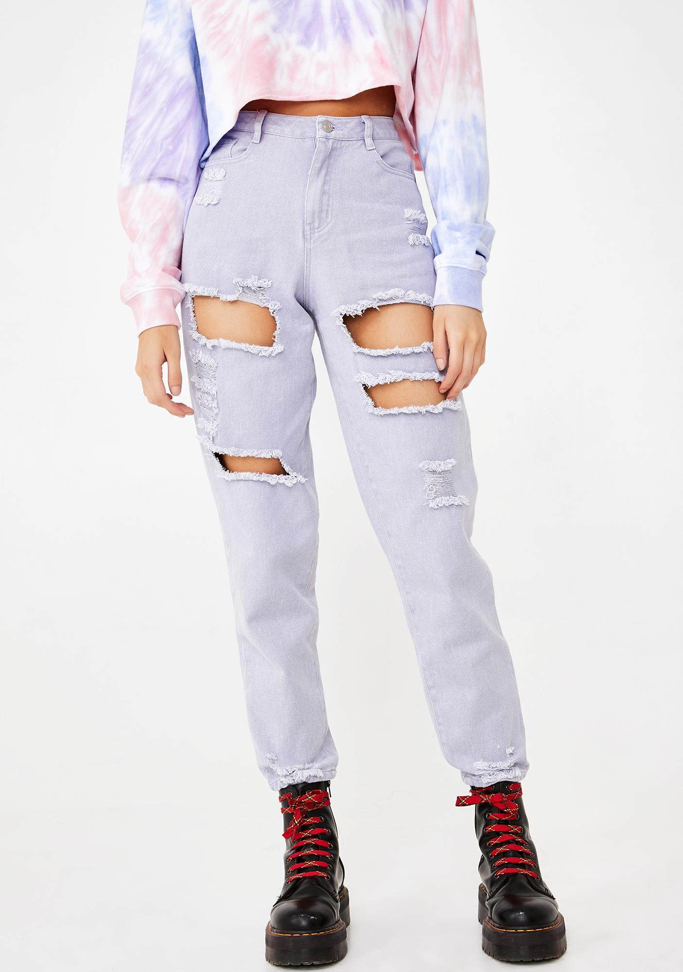 Lilac Wild N' Free Distressed Jeans