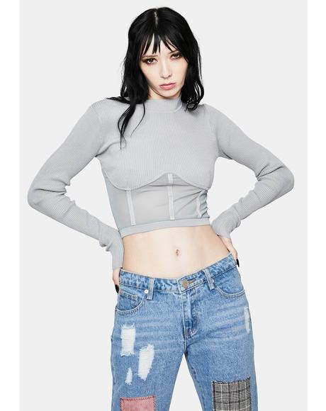 Stone High Fashion Mesh Underbust Top