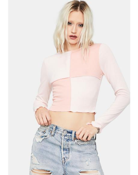 Fool Me Once Colorblock Crop Top