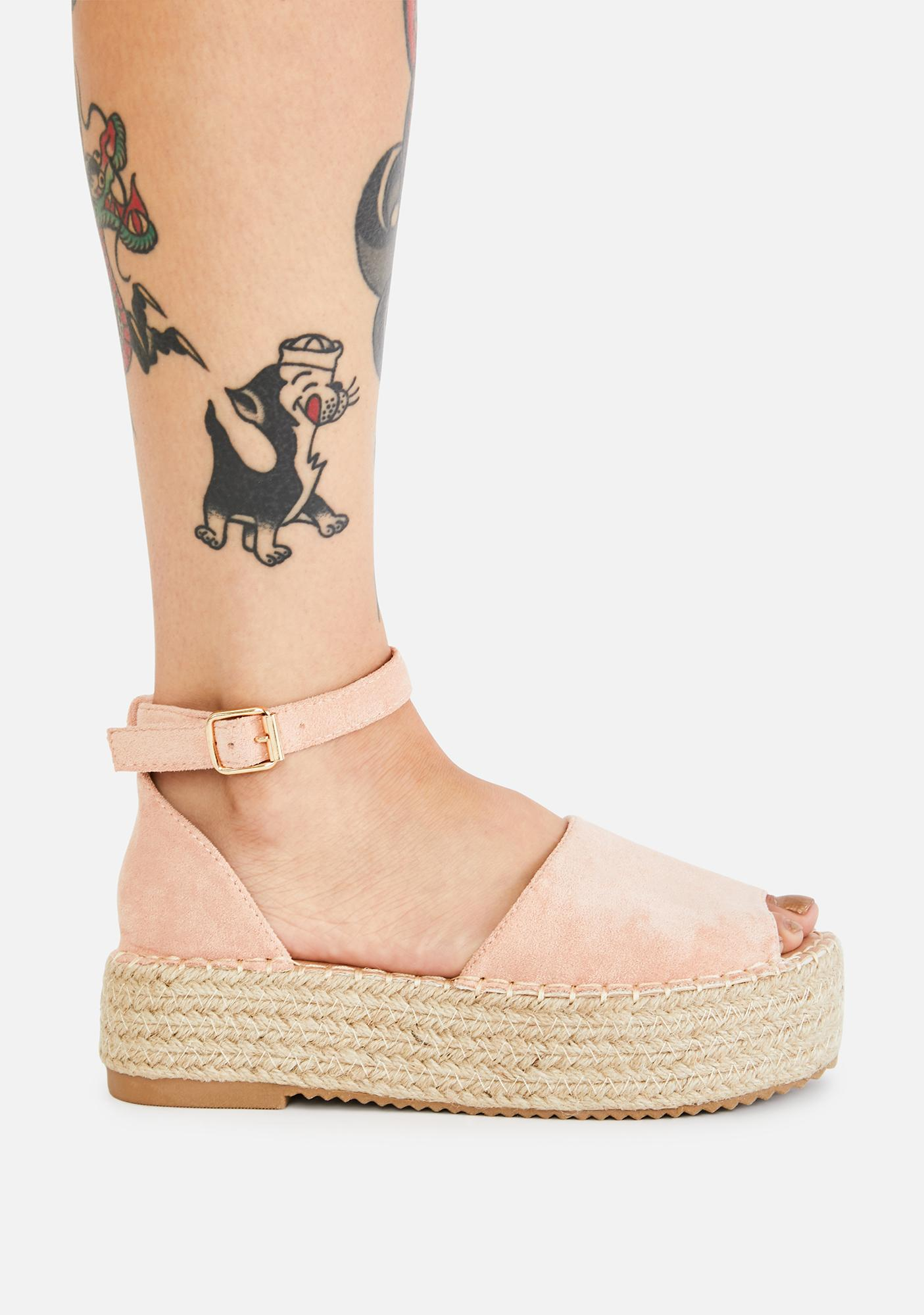 Pink Picnic For One Peep Toe Sandals