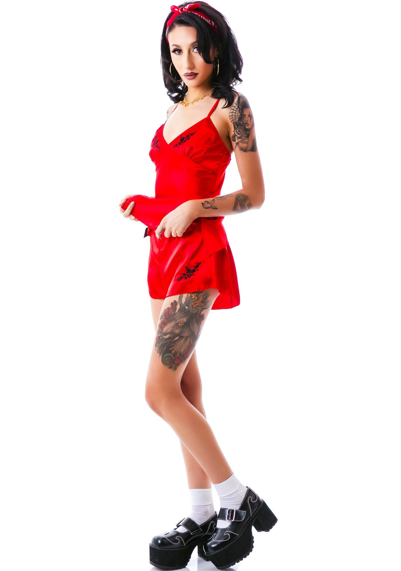 Rambling Rose Satin Shorts