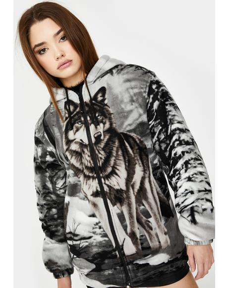 Gray Wolf Sherpa Hoodie