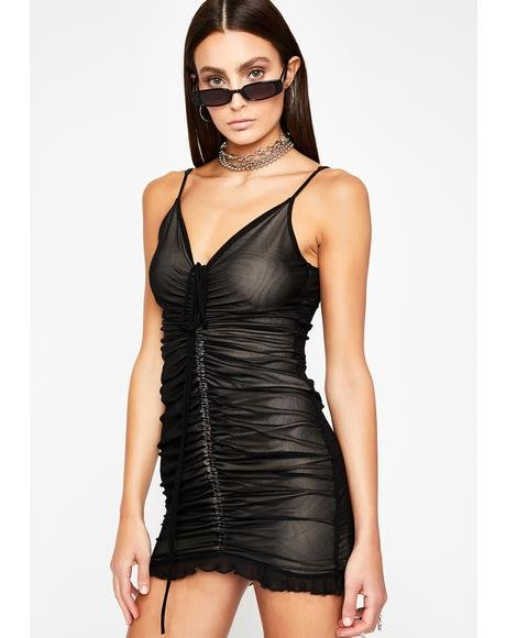 So Flirtatious Shirred Dress