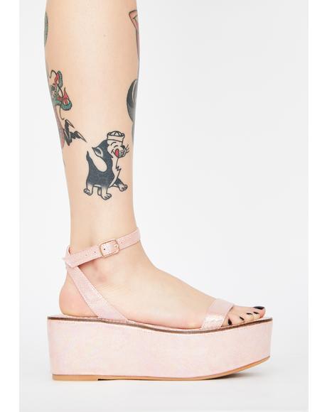 Pink Davvy Platform Sandals