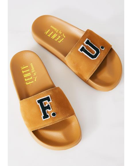 FENTY PUMA By Rihanna Golden Brown Leadcat Fenty FU Slides