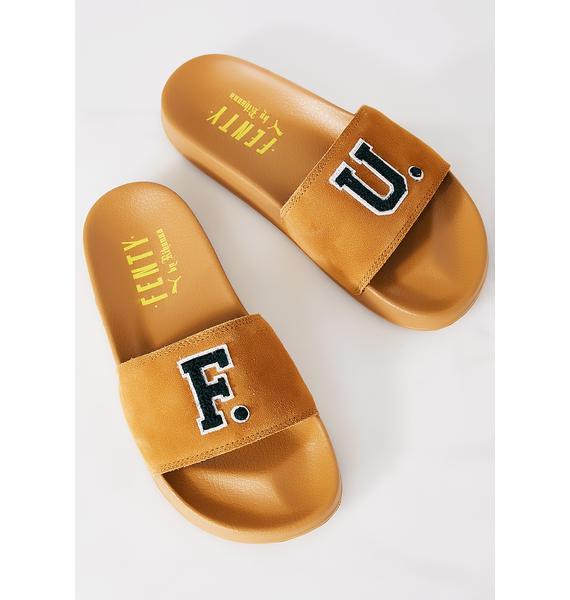 PUMA FENTY PUMA By Rihanna Golden Brown Leadcat Fenty FU Slides