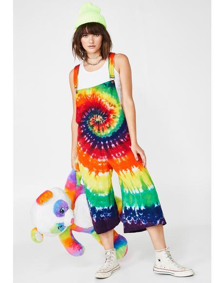 Freaky Frenzy Tie Dye Overalls