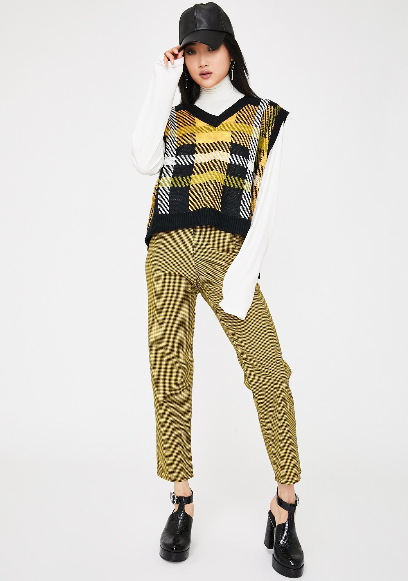 Alzang Black Check Knitted Vest