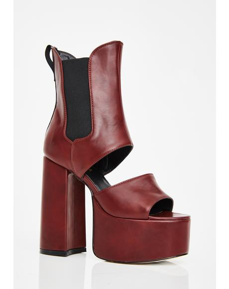 Wine Feelin' Naughty Platform Boots